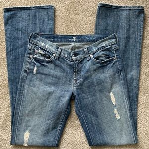 7 for all Mankind Light Distressed Bootcut Jeans